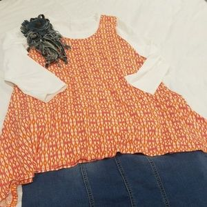 Rose & Olive Orange Beige Tank Tunic Flowy Shirt